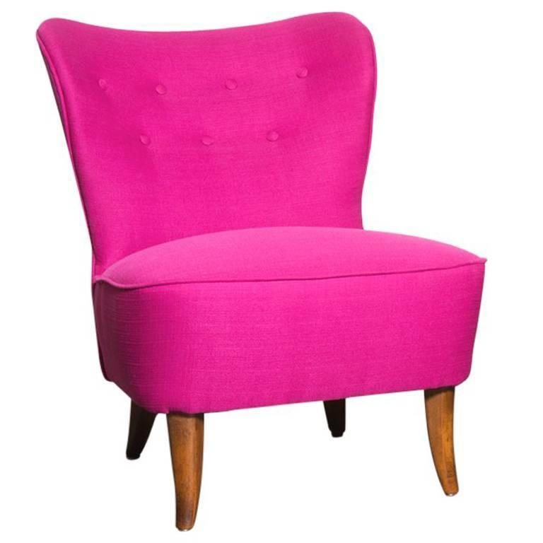 Armless Small Wing-Back Boudoir Lounge Chair at 1stdibs