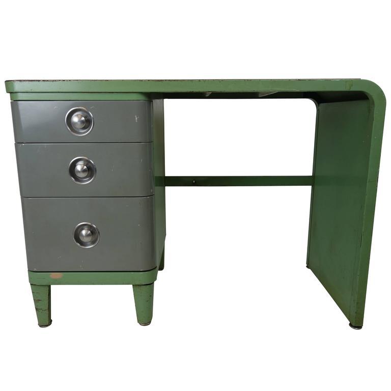 Simmons Company Furniture Enameled Steel Desk By Norman Bel Geddes