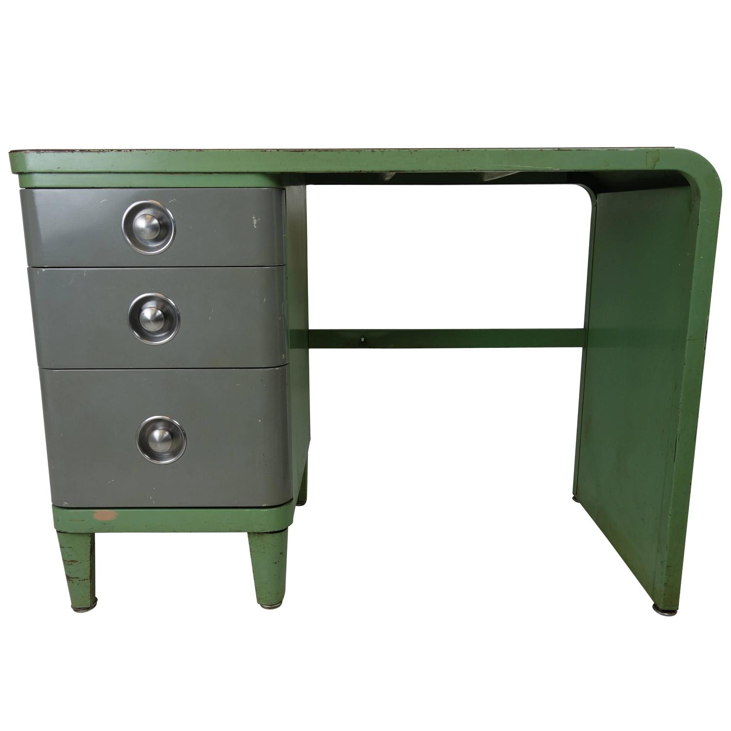 Simmons Company Furniture Enameled Steel Desk By Norman Bel Geddes For Sale At 1stdibs