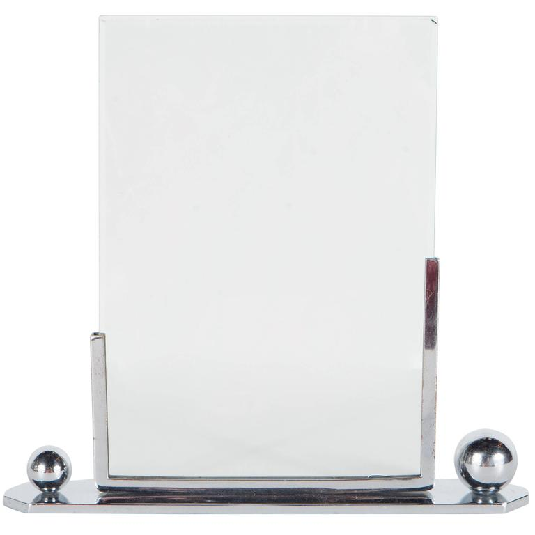 Art Deco Polished Chrome Picture Frame with Asymmetrical Detailing For Sale