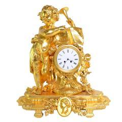 Gilt Metal Cherub Mantel Clock