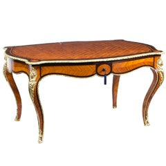 19th Century French Bureau Plat Parquetry Writing Table