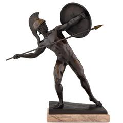 Antique Male Nude Warrior with Spear by Schmidt Kestner H 23 inch, Ca. 1900