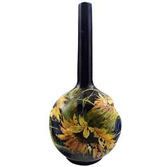 Art Nouveau Rörstrand Narrow-Neck Vase in Earthenware Decorated with Flowers