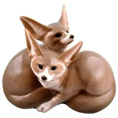 Royal Copenhagen, Modeled by Christian Thomsen in 1901, Pair of Desert Foxes