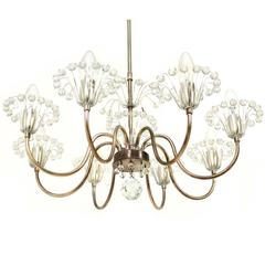 Early Emil Stejnar Eight-Arm Chandelier, Austria, 1960s Crystal Glass and Nickel