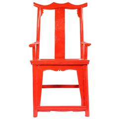 Red Lacquer Chinese Scholar Chair