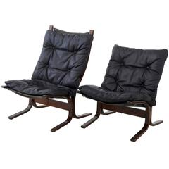 Pair of Norwegian Leather Armchairs
