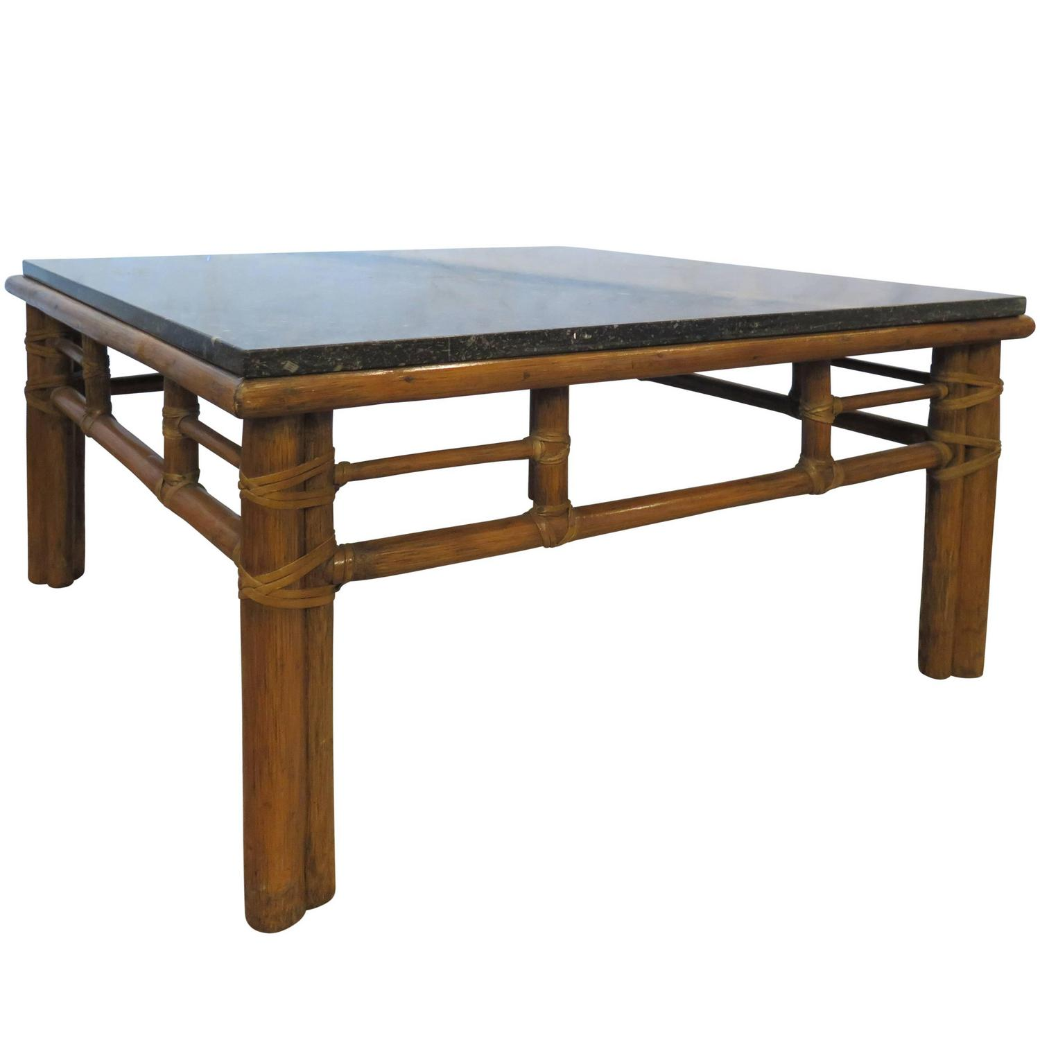 Mcguire coffee table with black marble top for sale at 1stdibs for Stone topped coffee tables