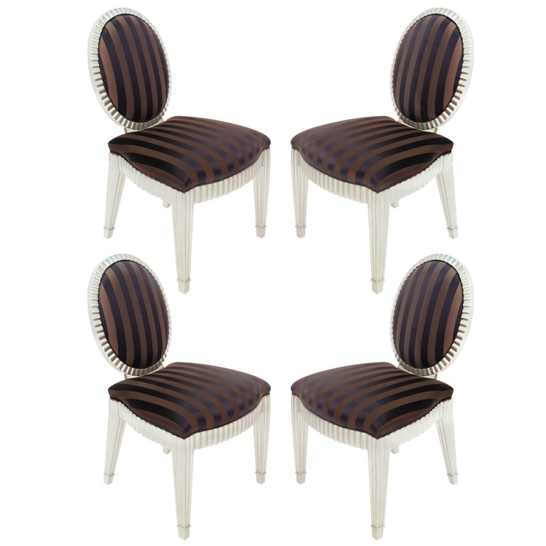 Set of Four Dining or Game Chairs by John Hutton for Donghia For Sale