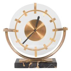 Art Deco Eight Day Clock by Bayard with Portoro Marble Base and Bronze Fittings