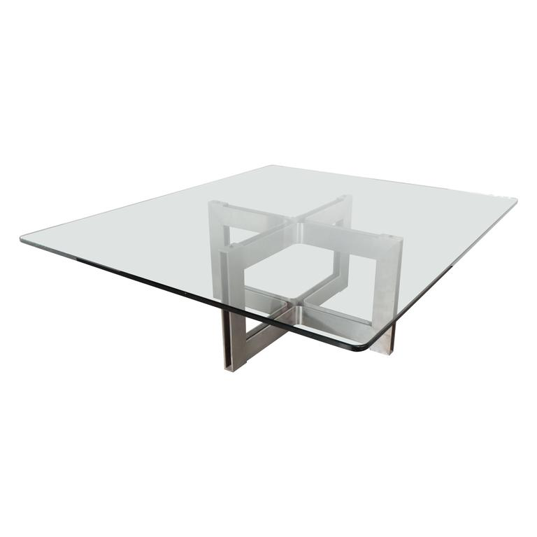 Mid Century Modernist Industrial Steel X Base Cocktail Table With Glass Top For Sale At 1stdibs