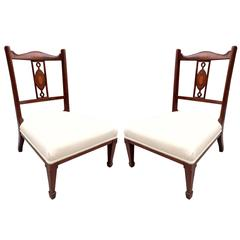Pair of 19th Century Regency Style Mahogany Inlaid Slipper Chairs