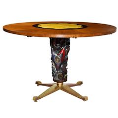 Circular Center or Dining Table by Melchiorre Bega for Altamira