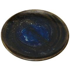 Large Rörstrand Studio Bowl with Cobalt Glaze by Bertil Lundgren, 1970