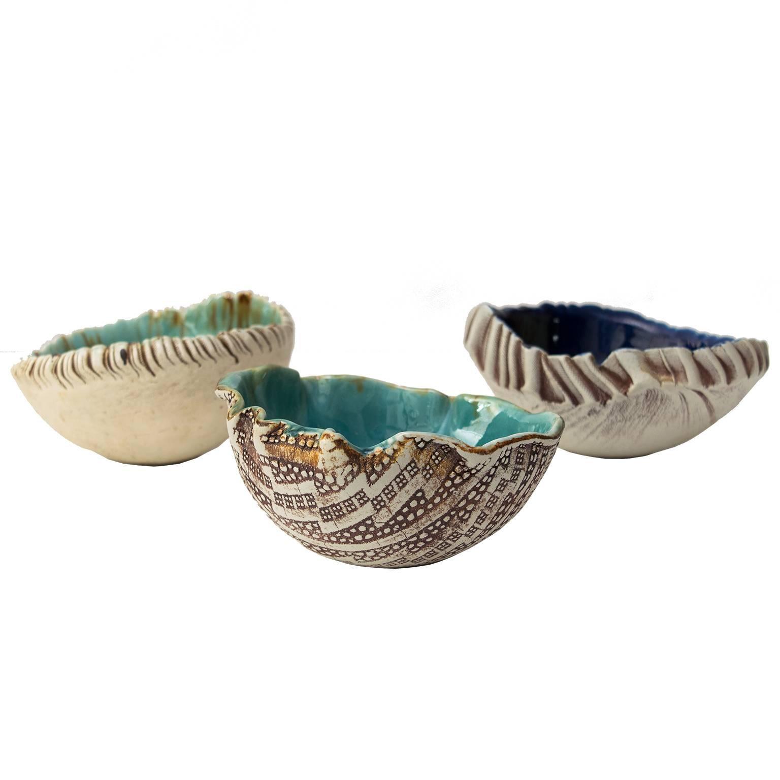 Three Scandinavian Modern Hand Built and Glazed Bowls by Artist Bengt Berglund