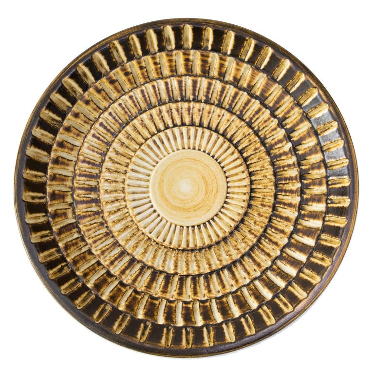 Scandinavian Modern Textured Bowl 'Gold' by Gertrud Lonegren For Sale