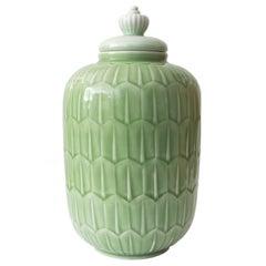 Scandinavian Modern Gunnar Nylund Jade Glazed Jar for Rörstrand