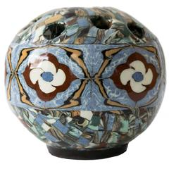 Small French Vallauris Clay Mosaic Vase by Ceramicist Jean Gerbil Blue