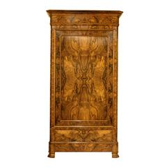 Period Louis Philippe Bonnetiere or Armoire of Bookmatched Burl Walnut
