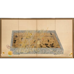 Japanese Four Panel Screen: Goldfish in a Fish Basin
