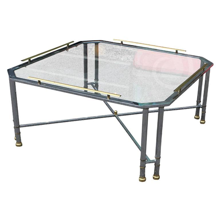 Elegant Modern Chrome Brass and Glass French Square Coffee Table For Sale