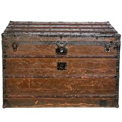 Early Louis Vuitton Wood Strap-Bound and Iron-Mounted Steamer Trunk