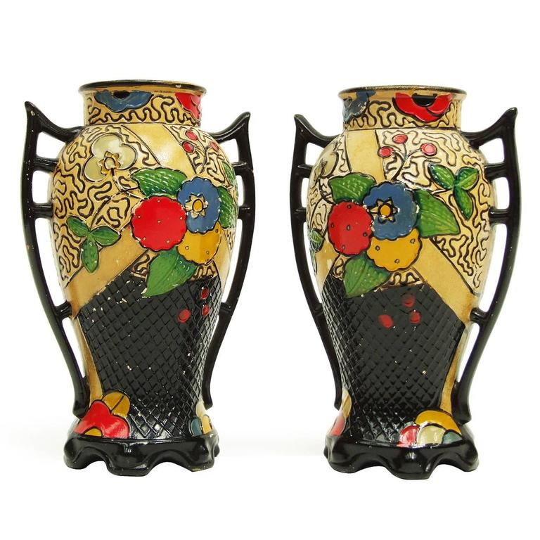 1920s Art Deco Oriental Hand-Painted Ceramic Embosa Vases