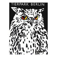 1970s Berlin Zoo Owl Travel Poster Pop Art Design