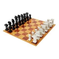 1970s Modernist Aluminum and Walnut Chess Set