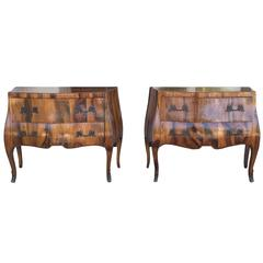 Pair of Midcentury Italian Burled Wood Two-Drawer Commodes