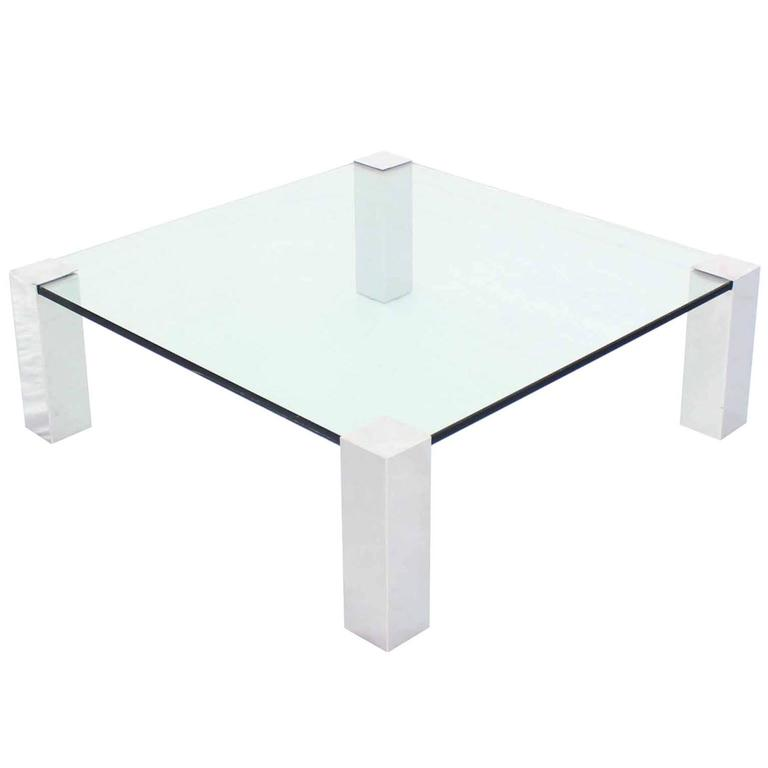 Large Square Mid Century Modern Coffee Table On Chrome