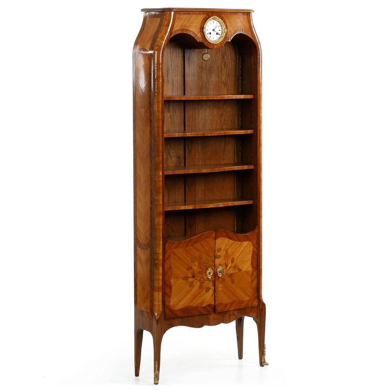 Fine French Marquetry Antique Biblioteque Bookcase with Clock circa 1900