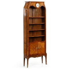 Fine French Marquetry Antique Biblioteque Bookcase with Clock circa 1900
