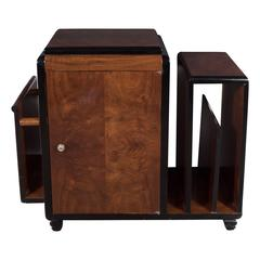 Art Deco Skyscraper Style Bookmatched Burled Walnut Magazine Stand/End Table
