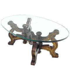 Heavy Carved Base Oval Coffee Table