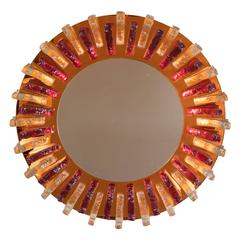 Mid-Century Modernist Resin Mirror with Garnet, Clear Appliques and Amber Border