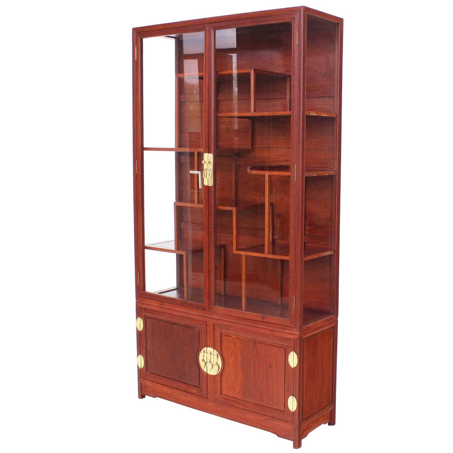 Display Kitchen Cabinets For Sale: Mid-Century Modern Oriental Display Cabinet With Brass