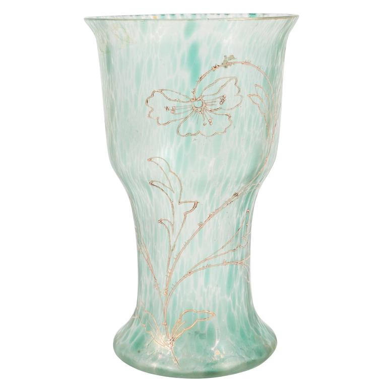 Art Nouveau Austrian Art Glass Vase in Green Iridescent and Gold Relief Vine 1
