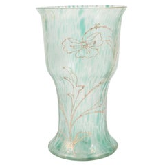 Art Nouveau Austrian Art Glass Vase in Green Iridescent and Gold Relief Vine