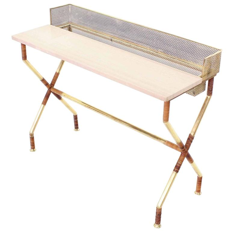 Rare X-Base Brass and Marble-Top Console Table with Planter