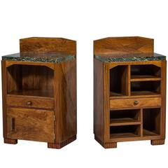 Pair of Asymmetrical Art Deco Night Tables with Marble Tops