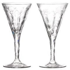 Set of 14 Hafnia Pattern Engraved Val St. Lambert Water Goblets