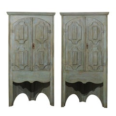 Pair of 19th C. Painted 7.5 ft Tall Wood Corner Cabinets w/Open Space Beneath