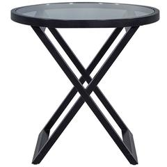 Round Glass Top Cross Braced Base Side Table