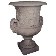 French Stone Urn with Ram Heads