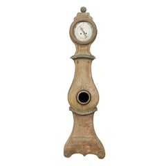 Exquisite Swedish 19th Century Clock with Carved Crest and Volutes on the Base