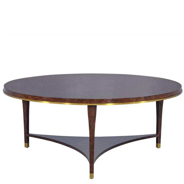 Crosby Table by Aerin Round Burled Wood Cocktail Table
