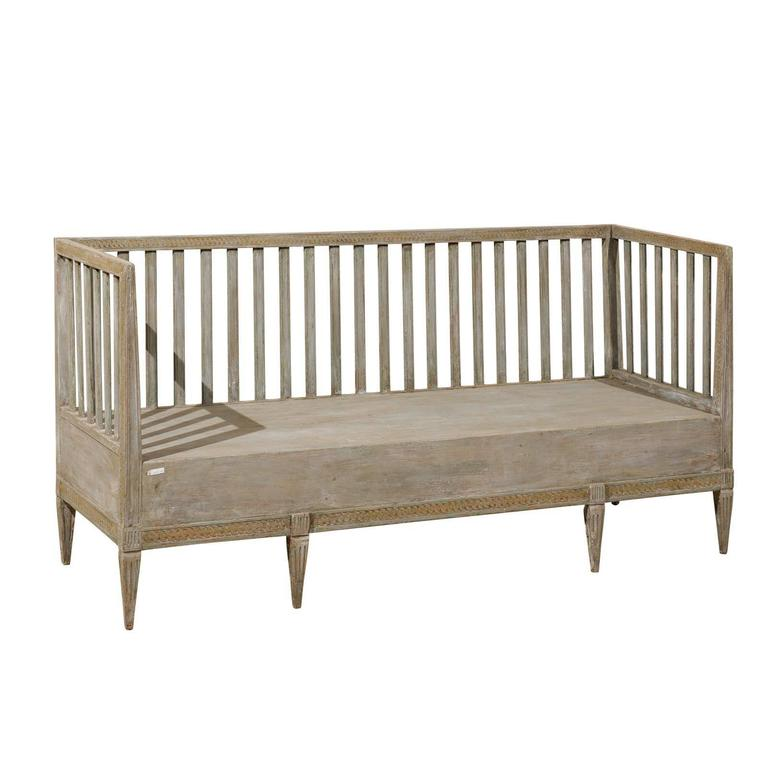 Swedish Period Gustavian Painted Wood Bench from the Late 18th Century