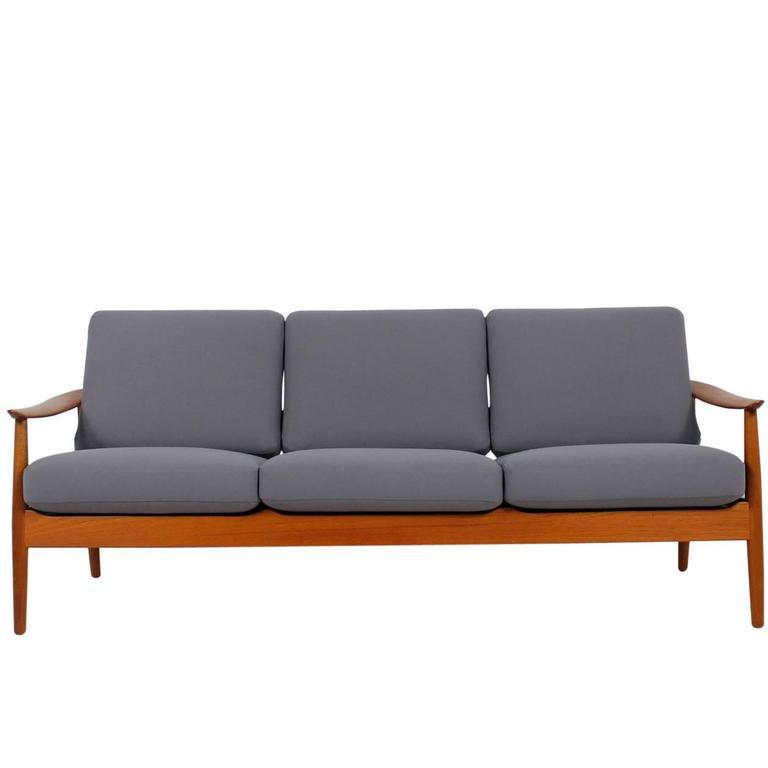 beautiful and rare arne vodder teak sofa danish modern design mid century for sale at 1stdibs. Black Bedroom Furniture Sets. Home Design Ideas